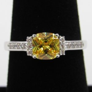 Sterling Silver Yellow Cushion CZ Diamond Ring